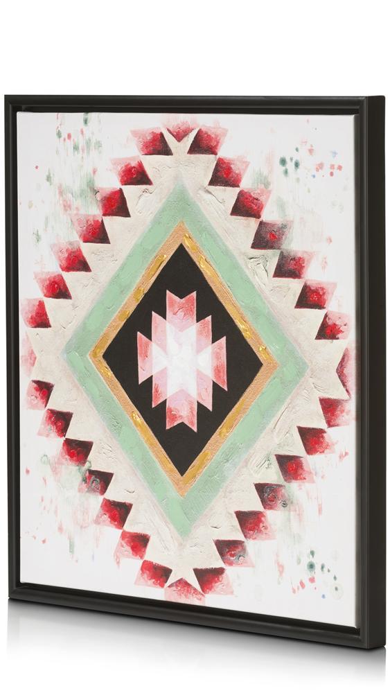 Peinture motif aztèque multicolore