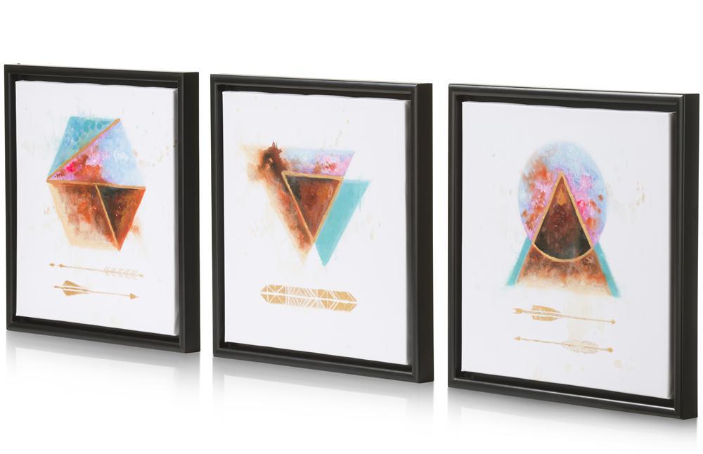 Ensemble de 3 tableaux carrés motifs colorés géométriques