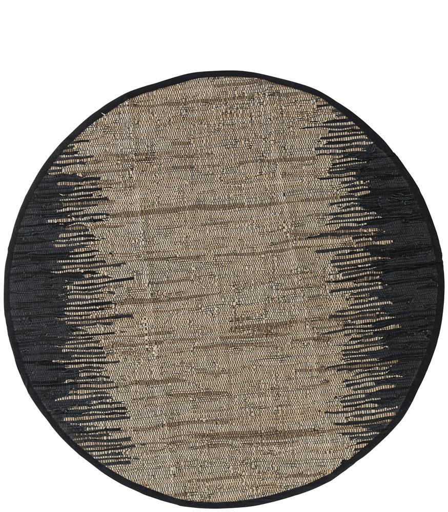 Tapis rond en cuir noir et beige