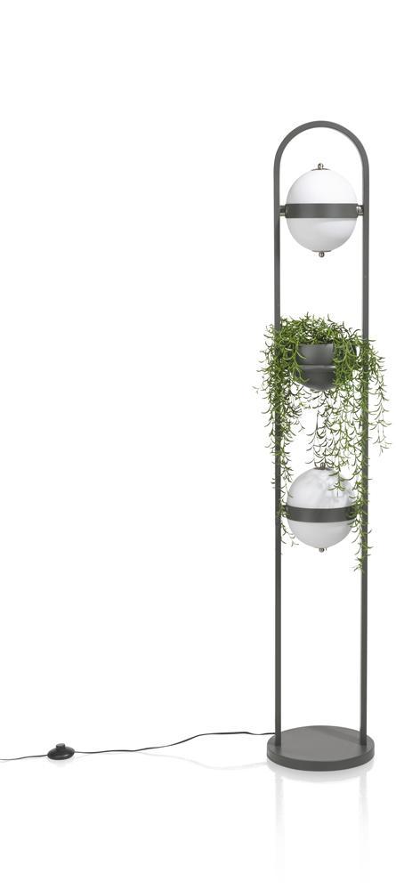 Lampe sur pied gris anthracite et blanc