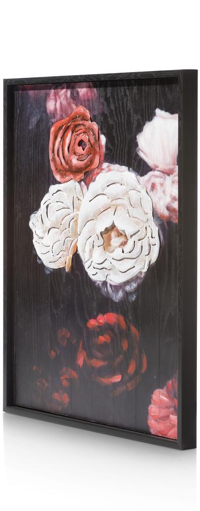 Tableau roses rouges blanches sur fond noir