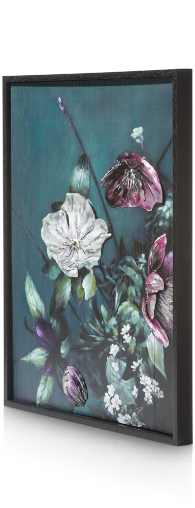 Peinture bouquet de fleurs sur fond vert