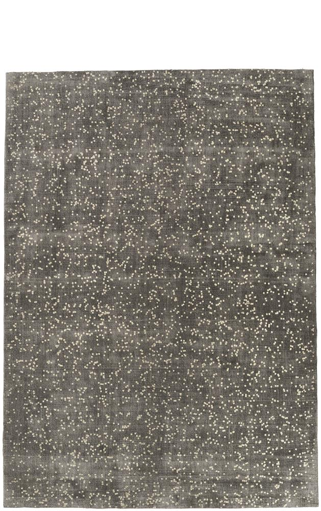 Tapis rectangulaire gris et or