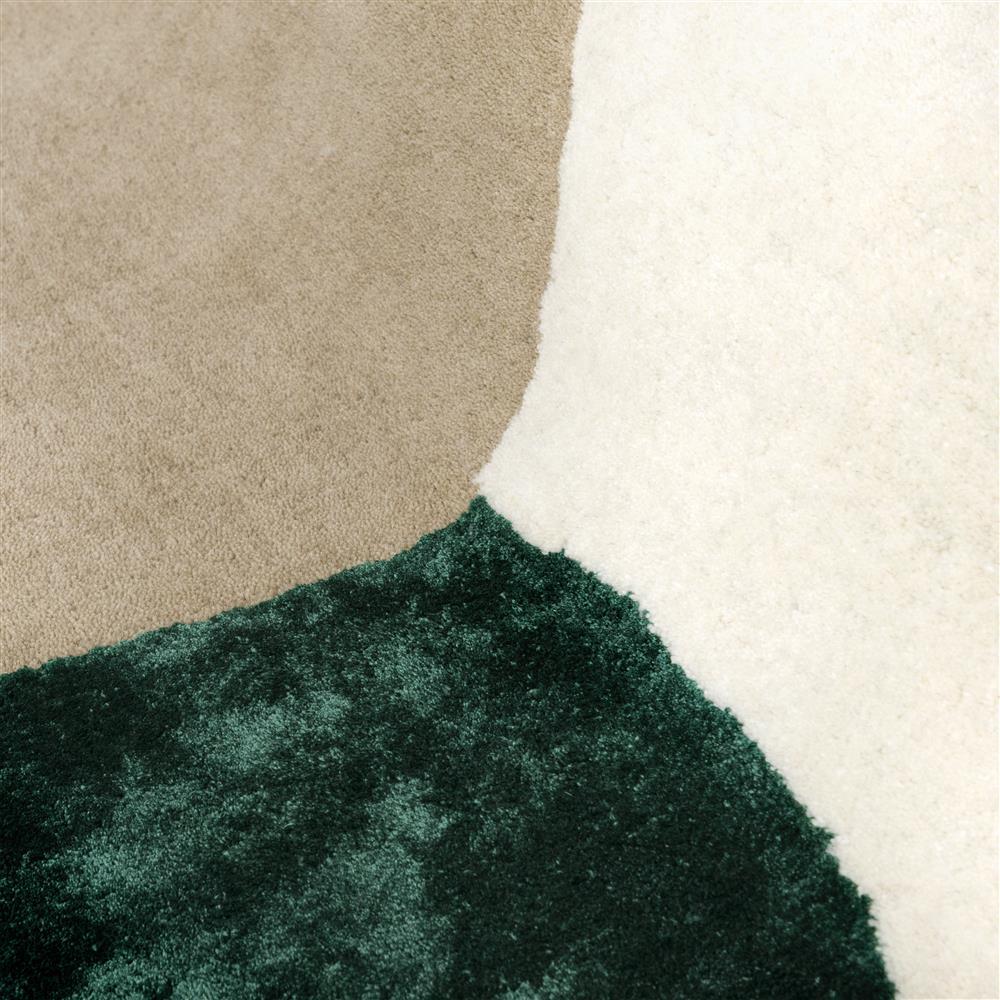 Tapis rectangulaire beige cercles verts