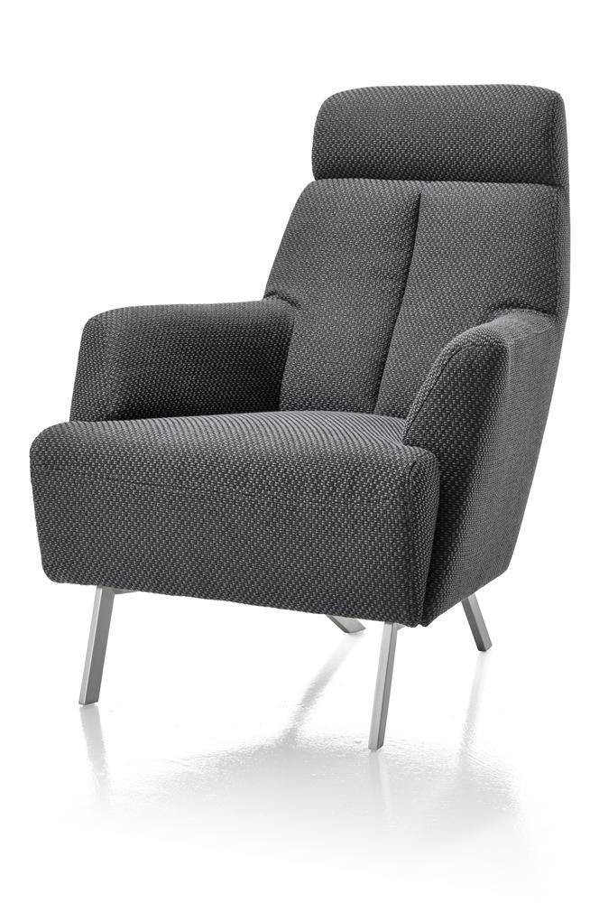 Fauteuil confort tissus gris foncé