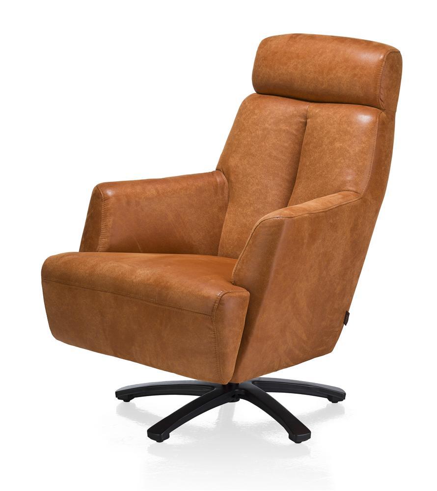 Fauteuil confort pivotant cuir couleur camel