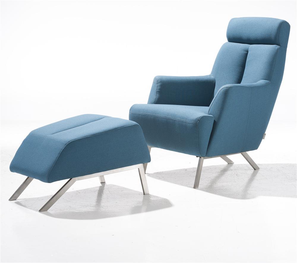 Fauteuil confort tissu bleu + pouf
