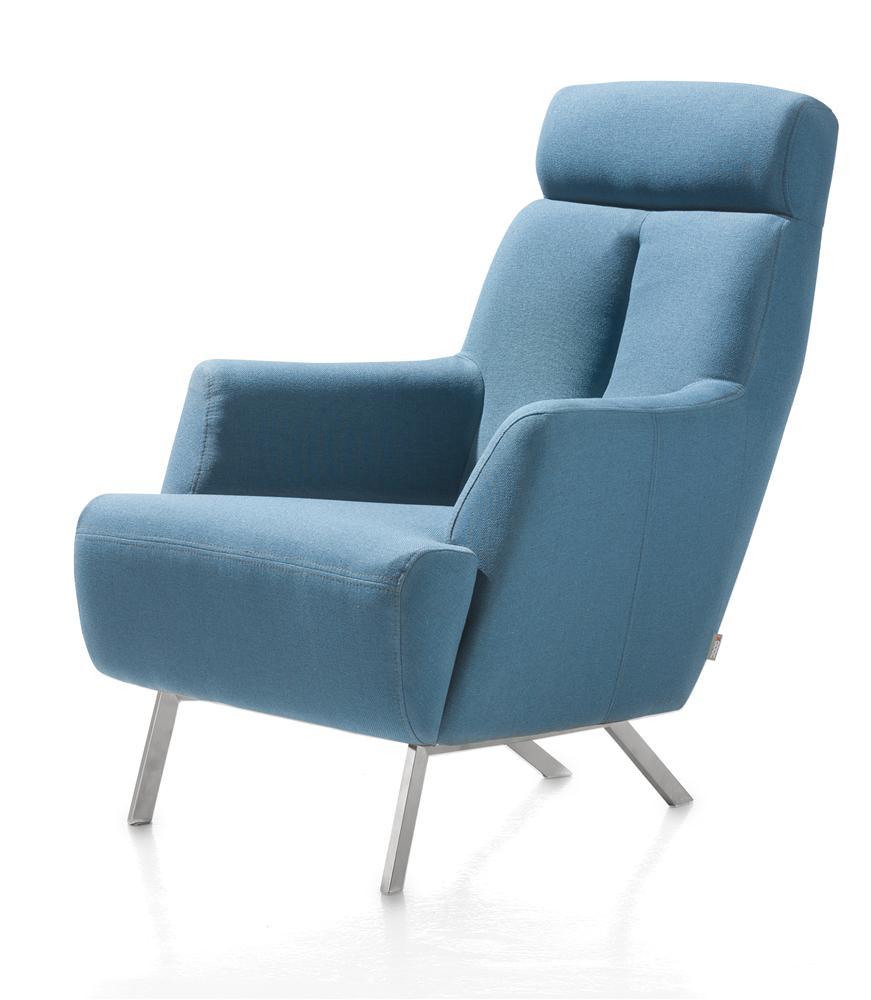 Fauteuil confort tissu bleu