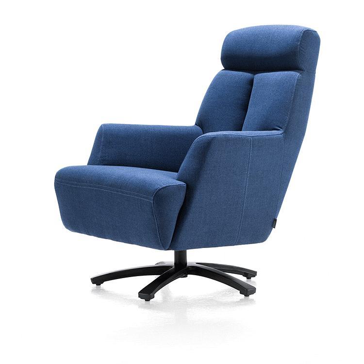 Fauteuil confort pivotant tissu bleu
