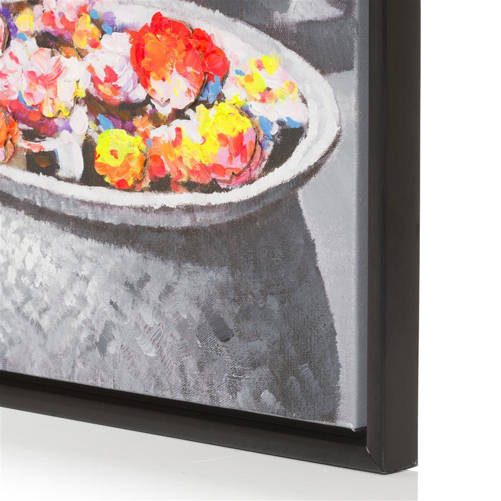 Peinture noir et blanc fleurs colorées