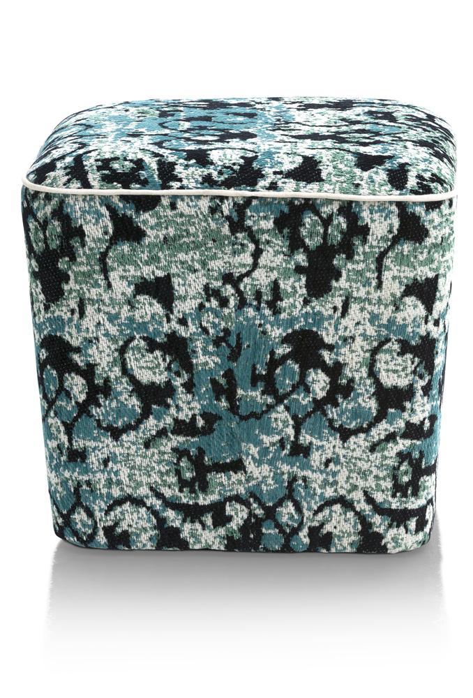 Pouf cubique bleu et gris
