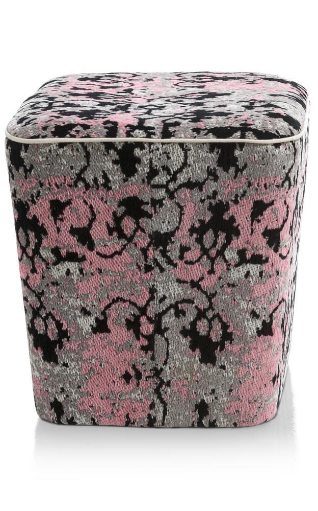 Pouf cubique gris et rose