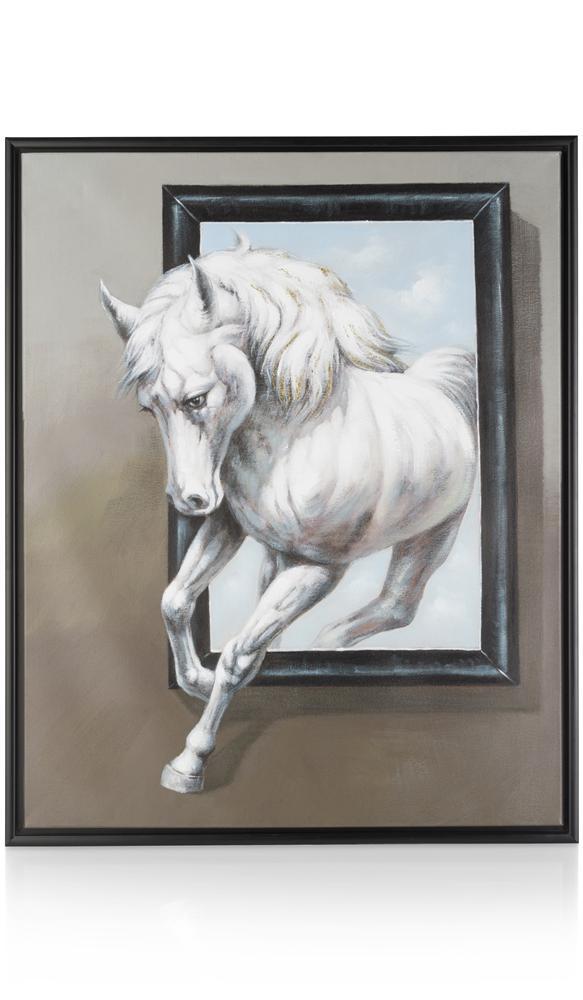 Peinture cheval blanc sortant du cadre