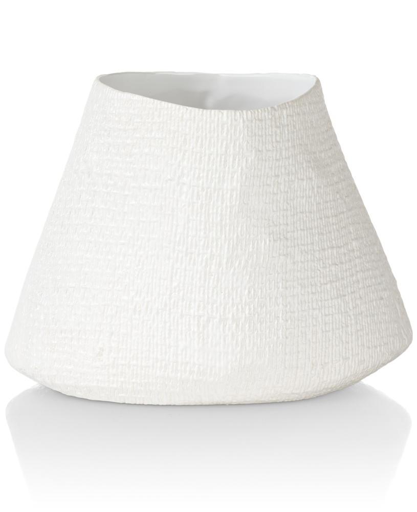 Pot de fleurs céramique aspect lin blanc