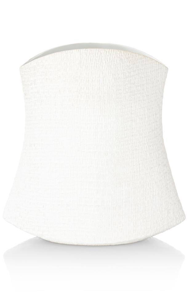 Vase céramique aspect lin blanc