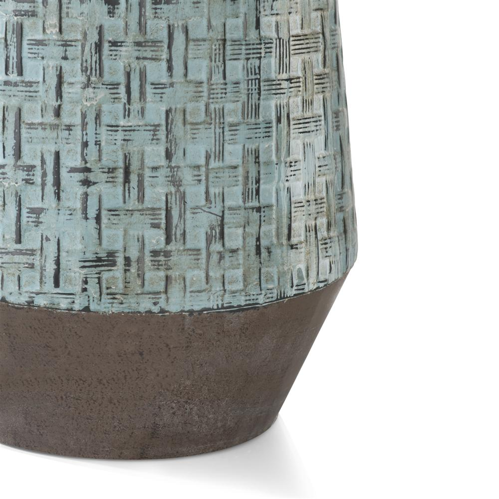 Vase métal bleu et marron
