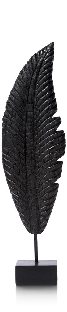 Objet plume noire en bois