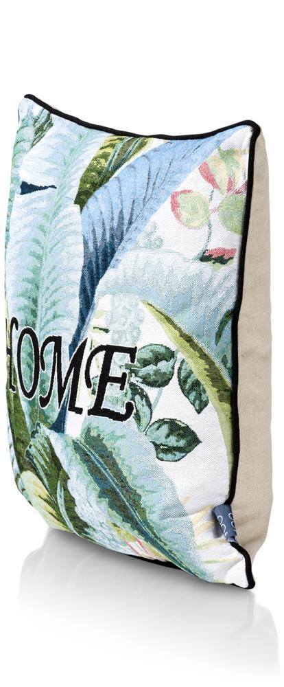 Coussin carré blanc et vert motif feuilles mot home