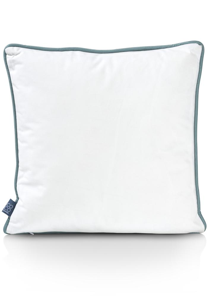 Coussin carré bicolore blanc et vert motif fleur