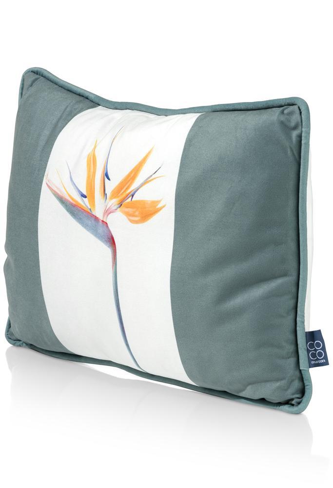 Coussin rectangulaire bicolore balnc et vert olive motif fleur