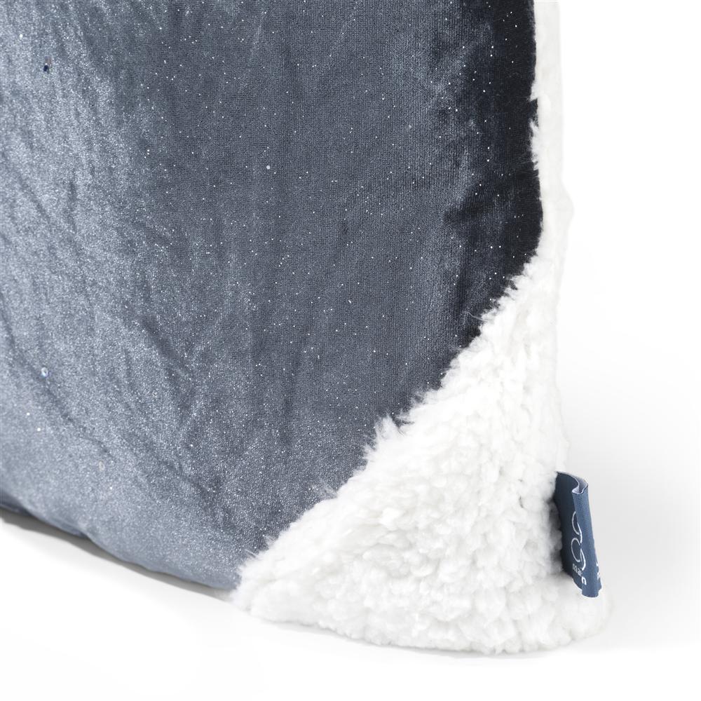 Coussin carré blanc motif rond bleu nuit