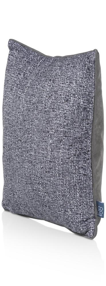 Coussin carré bi matière gris et bleu
