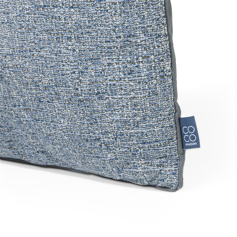 Coussin carré bi matière bleu
