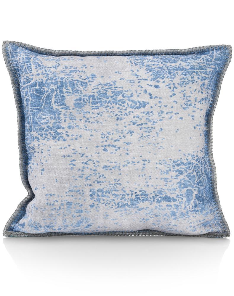 Coussin carré bleu et blanc