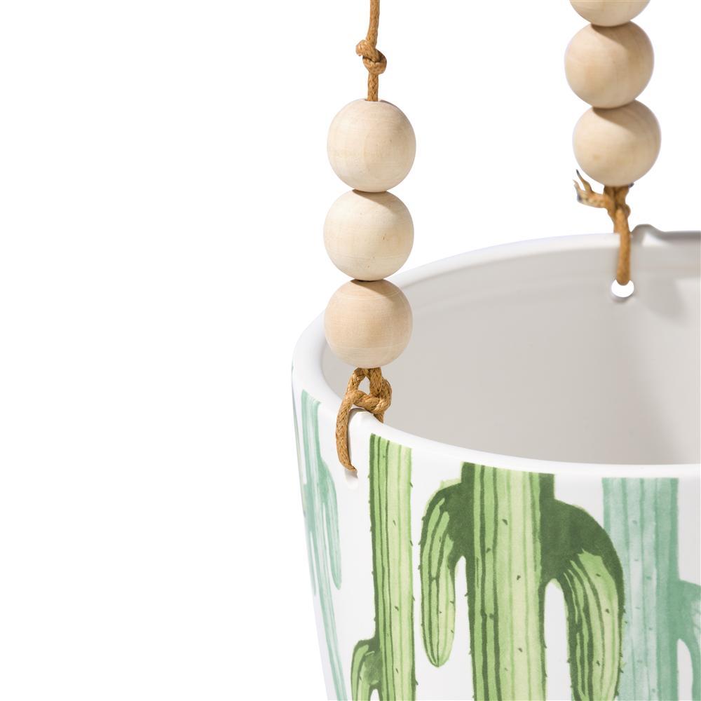Pots de fleurs à suspendre blanc et vert pastel motif cactus