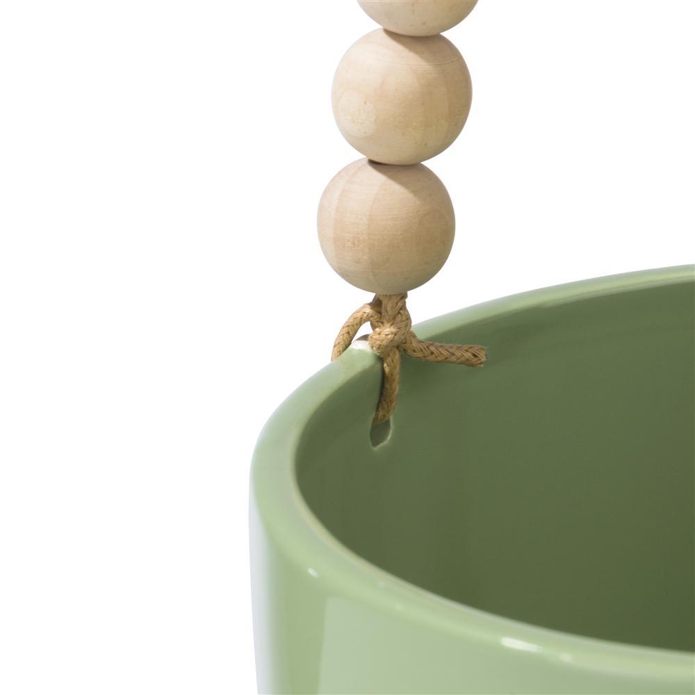 Pot de fleurs à suspendre en céramique vert et bois