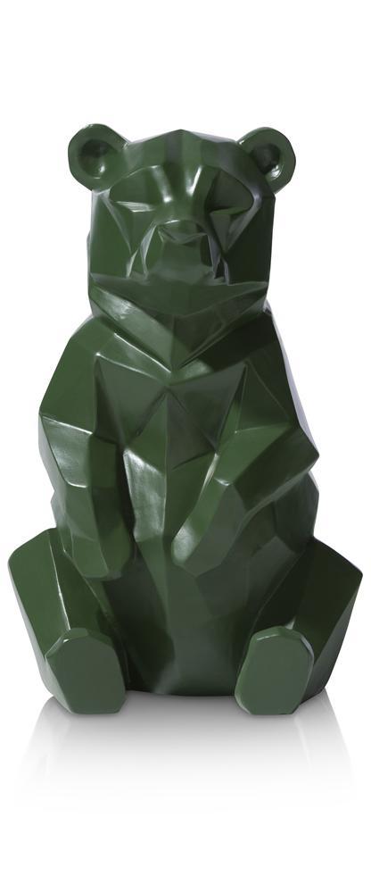 Objet ours géométrique vert