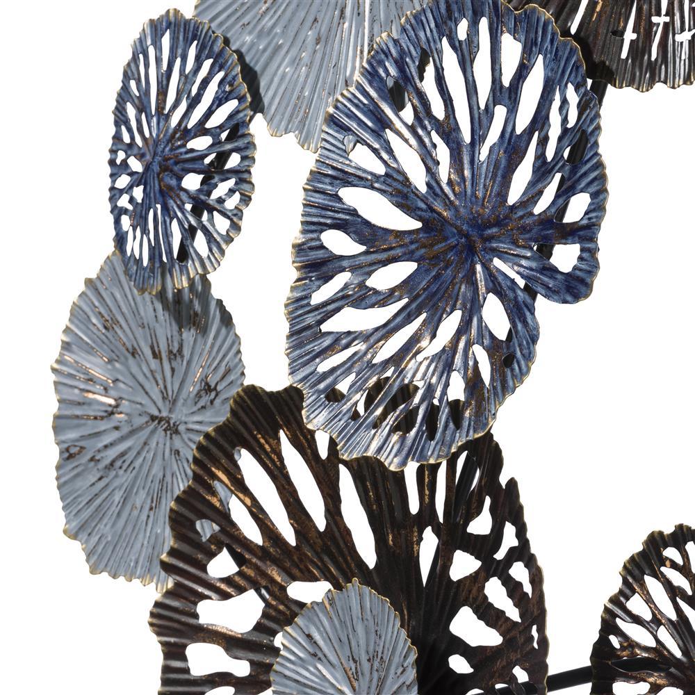 Décoration murale lotus métal bleu et bronze