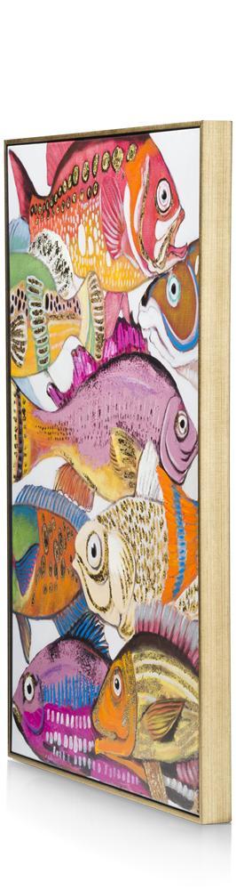 Peinture poissons multicolores cadre gold