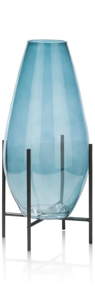 Vase en verre sur pieds noirs