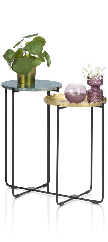 Table d'appoint 2 plateaux ronds vert et gold