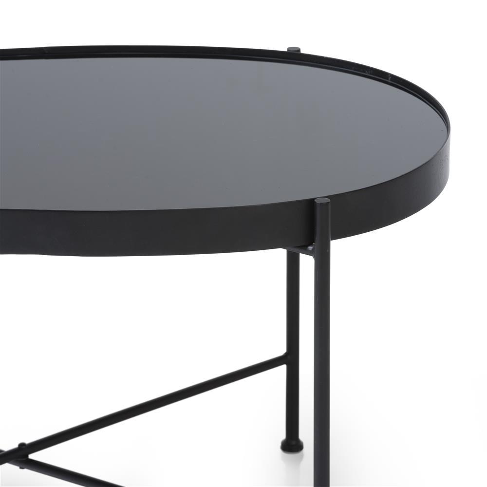Bout de canapé ovale verre noir