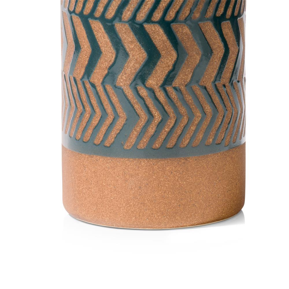 Photophore motif ethnique bleu pétrole