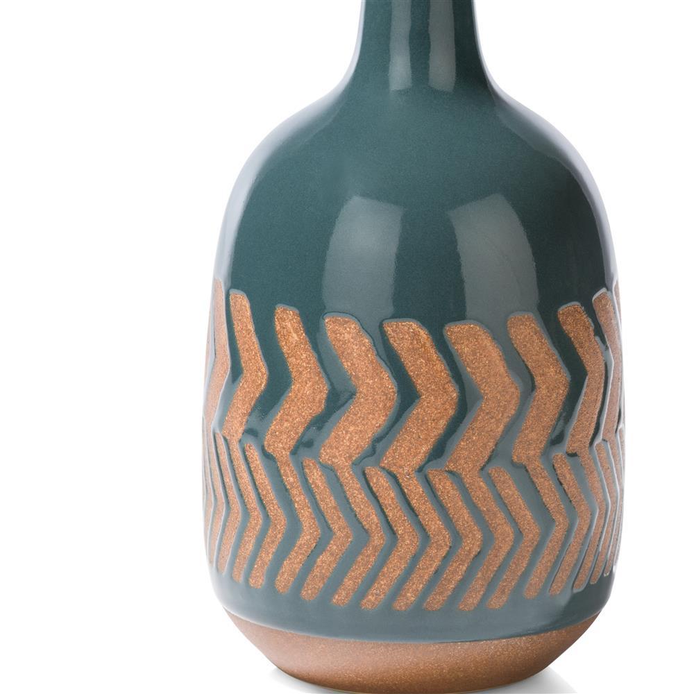 Vase en céramique motifs bleu pétrole