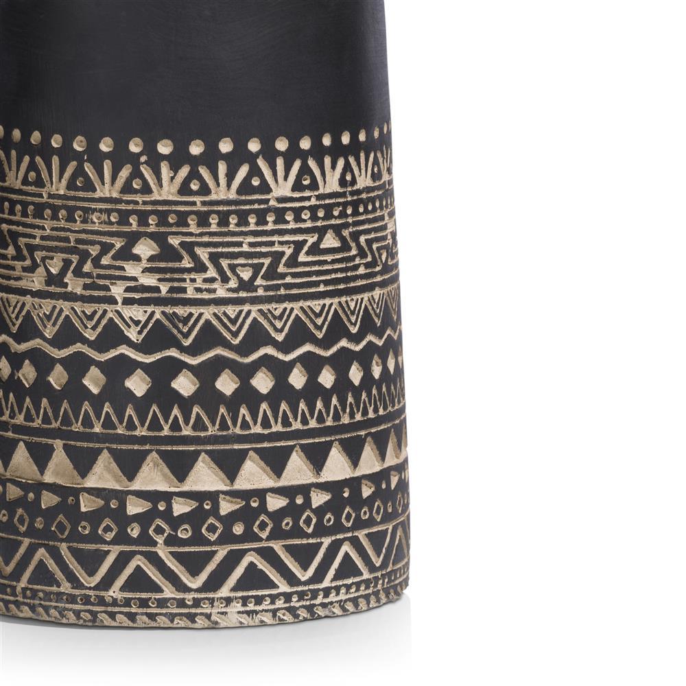 Pot de fleurs en ciment noir motifs beiges