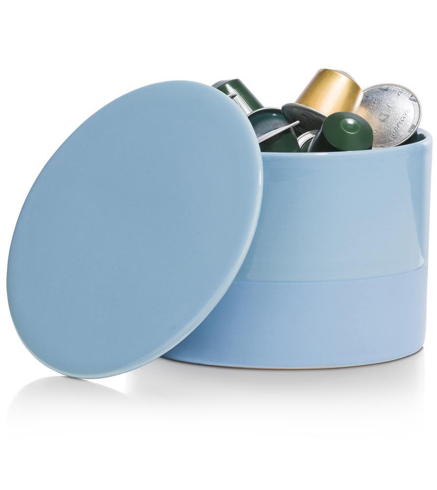 Pot bleu en céramique avec couvercle
