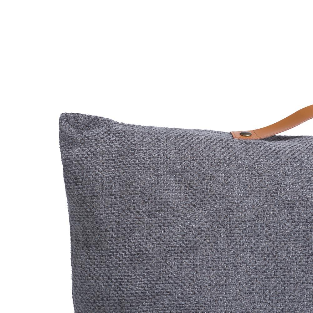 Coussin carré gris avec poignée cuir camel