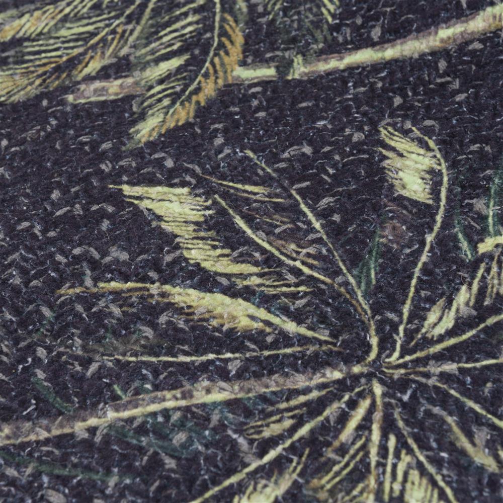 Tapis rond motifs palmiers fond noir