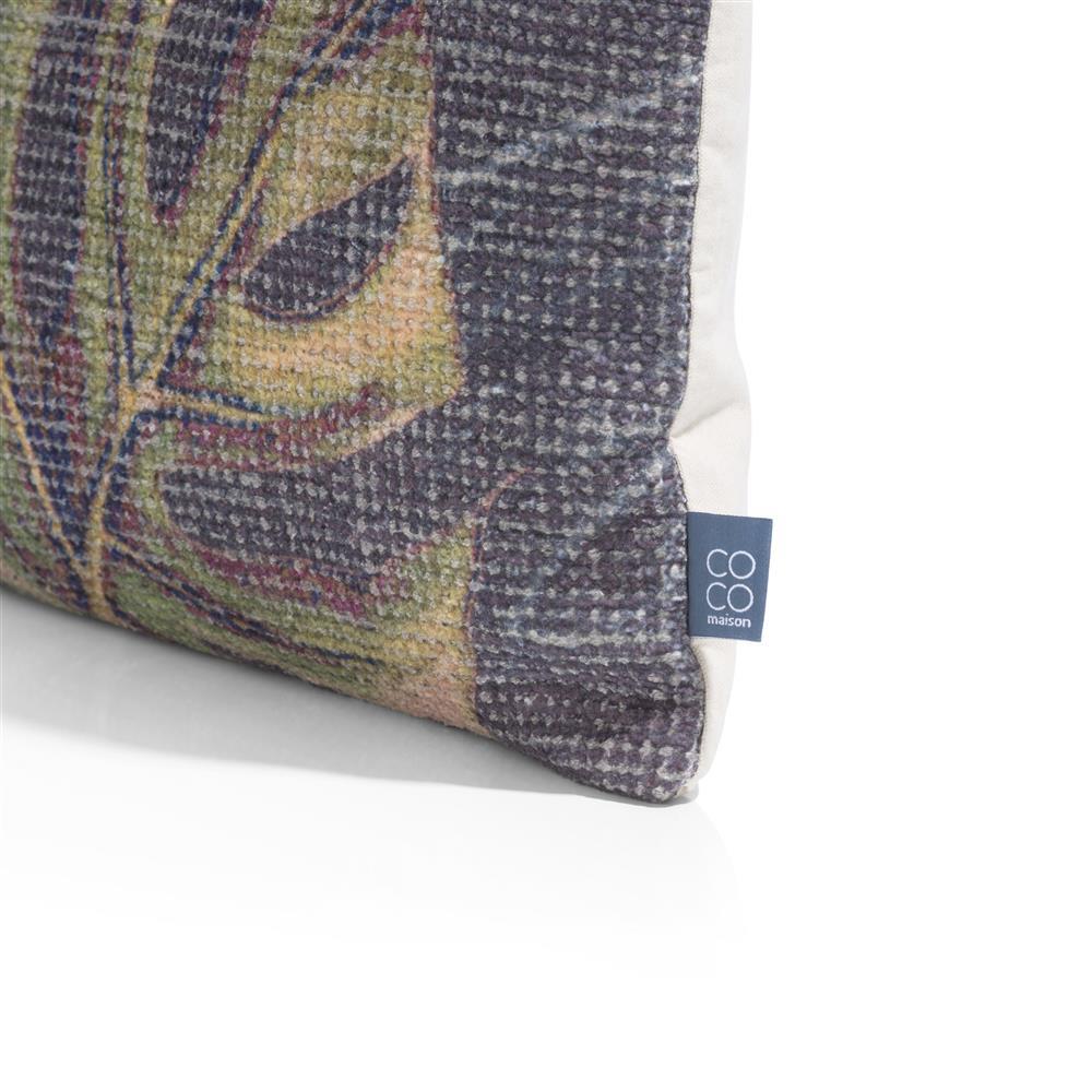 Coussin rectangulaire beige et gris motif feuille