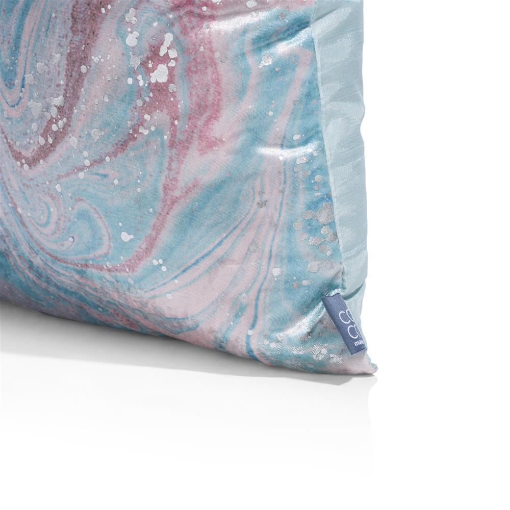 Coussin carré brillant rose et bleu pastel