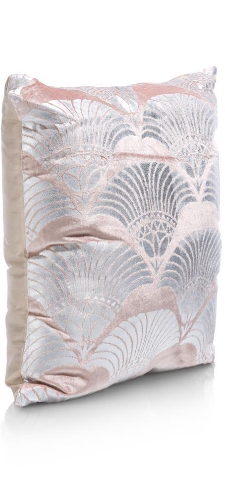 Coussin carré velours rose pâle et argenté