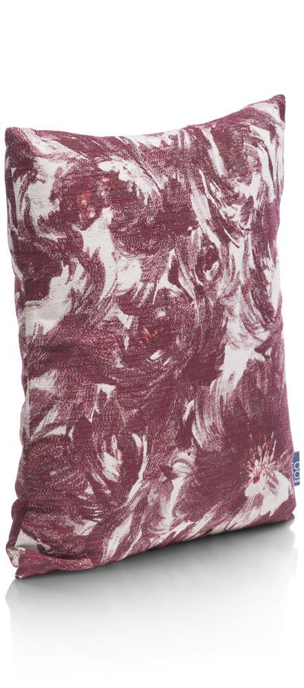 Coussin carré motif floral rouge