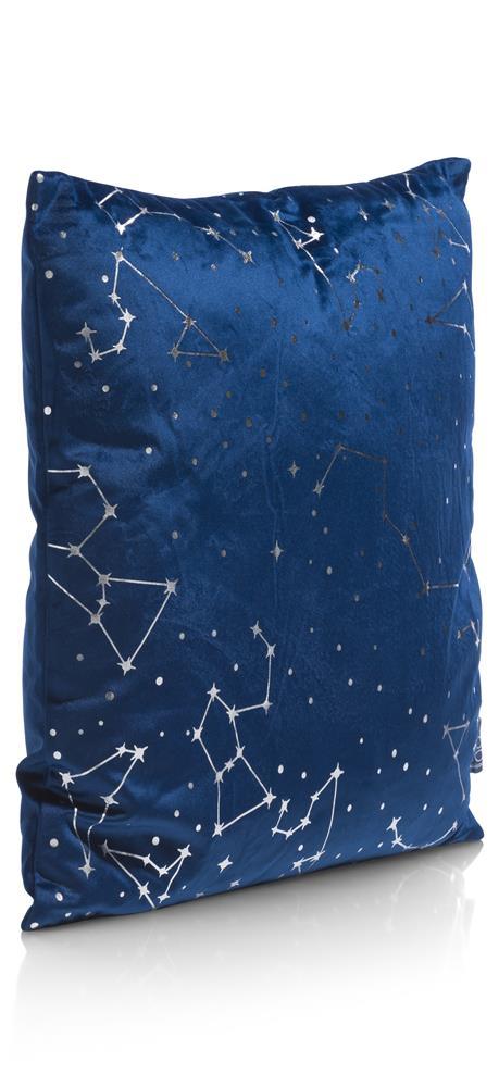 Coussin carré bleu motifs argentés constellations