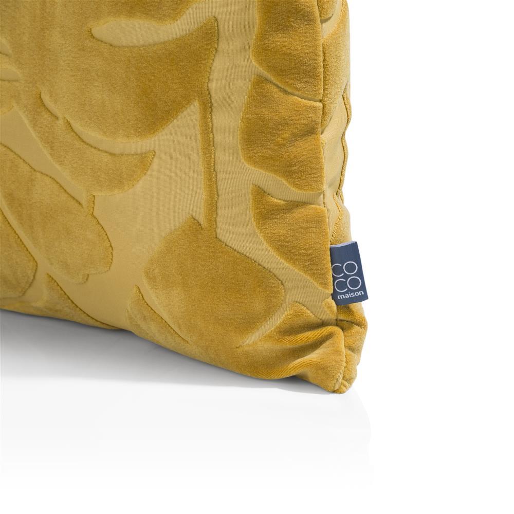 Coussin carré jaune moutarde motifs feuilles velours