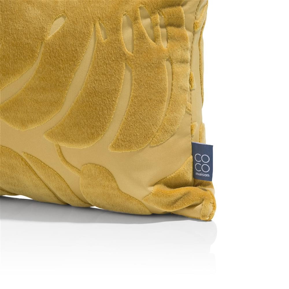 Coussin rectangulaire jaune motifs feuilles velours