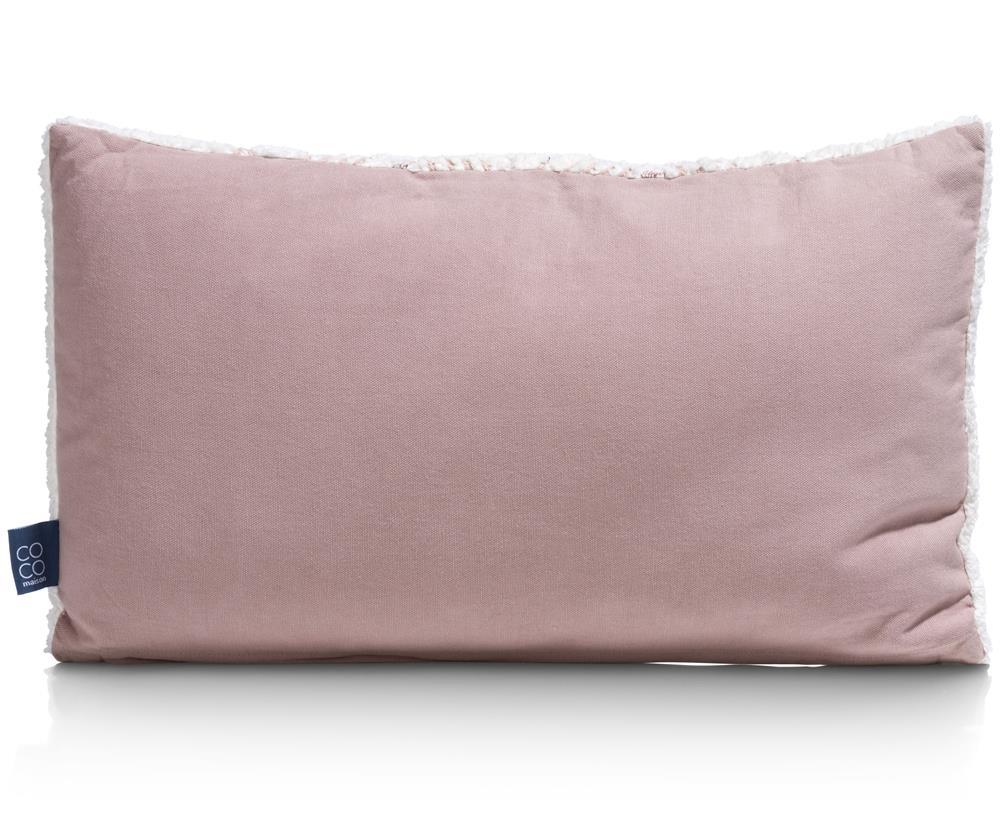 Coussin rectangulaire bicolore rose et beige